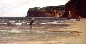 Coastal View with Woman Shrimping c.1900