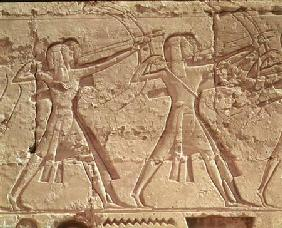 Archers, detail from the hunt of Ramesses III (c.1184-1153 BC) from the Mortuary Temple of Ramesses 1200-1085