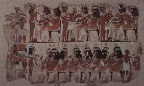 Banquet scene, from Thebes c.1400 BC
