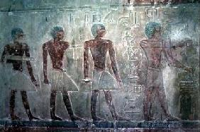 Craftsmen from the South wall of the Mastaba Chapel of Ti, Old Kingdom