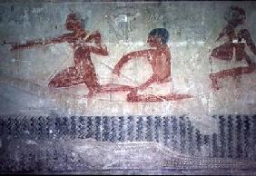 Fishermen and a crocodile from the North wall of the Mastaba Chapel of Ti, Old Kingdom