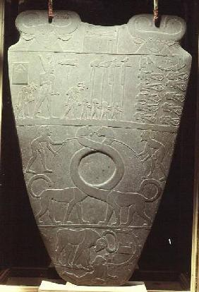 The Narmer Palette: ceremonial palette depicting King Narmer, wearing the red crown of Lower Egypt, c.3000 BC