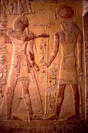 Relief depicting Merneptah (1236-1223 BC) being greeted by Re-Herakhty, from the Tomb of Merneptah, c.1297-118