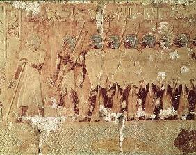 Relief depicting soldiers sent by Queen Hatshepsut on an expedition to the Land of Punt to bring bac c.1503-148