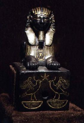 Statuette of a sphinx of King Tuthmosis III, New Kingdom c.1490-143