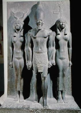 Triad of Menkaure (Mycerinus) with the goddess Hathor and the goddess of the Aphroditopolis nome, ta c.2529 BC
