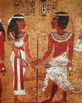 Tutankhamun (c.1370-1352 BC) and his wife, Ankhesenamun, from his tomb, New Kingdom