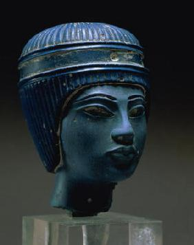 Royal head, possibly Tutankhamun, New Kingdom (pressed glass) (see also 154086) 19th