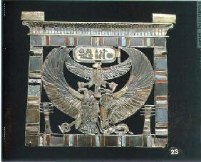 Pectoral of Ramesses II (c.1290-1224 BC) New Kingdom (gold, glass & turquoise) (see also 55440) 1729