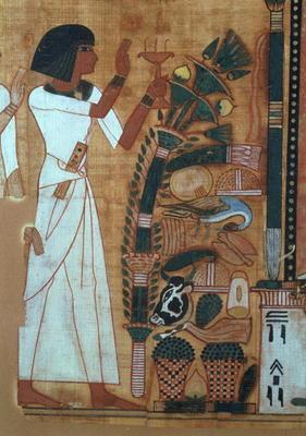 The Fumigation of Osiris, page from the Book of the Dead of Neb-Qued, Egyptian, New Kingdom (papyrus 1729