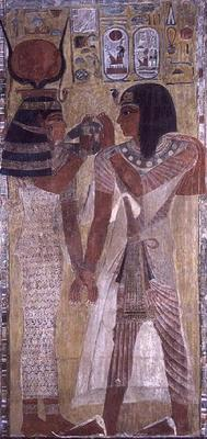 The Goddess Hathor placing the magic collar on Seti I (c.1394-1279 BC), taken from the Tomb of Seti 20th