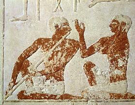 Painted relief depicting a flute player and a singer at a funerary banquet, from the Tomb of Nenkhef c.2400 BC