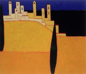 San Gimignano, Tuscany, 2000 (acrylic on canvas)