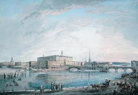 View of Stockholm from the Fersen Terrace (gouache on canvas) 13th