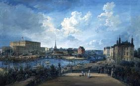 View of Stockholm from the Fersen Terrace with the Palace Makalos (gouache on canvas) 13th