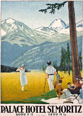 Poster advertising the Palace Hotel at St. Moritz 1921