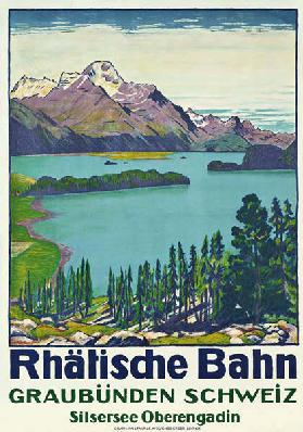 Poster advertising travel to Graubunden by the Swiss company 'Rhaetian Railway' 1916
