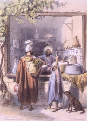 A Zeyat or Oil Seller with Customers in his Shop in Cairo, illustration from 'The Valley of the Nile 1848