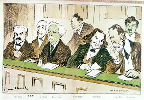 Caricature of Gabriel Faure (1845-1924) presiding over the Jury du Conservatoire, from ''l''Assiette