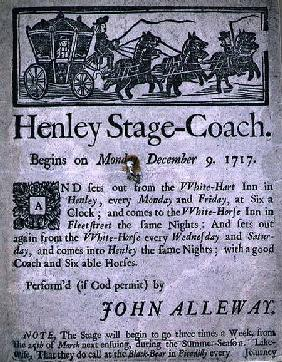 Advertisement for the Henley Stage Coach 1717