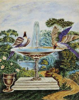 Birds in a Fountain in a Landscape Park c.1840  on