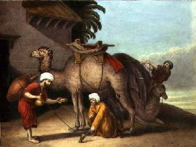 Two Camels with Attendants c.1825  on