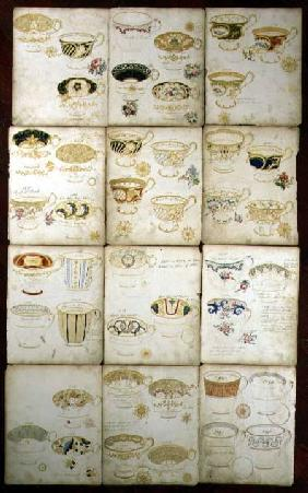Designs for teacups produced at the Daniel Factory, Staffordshire c.1845