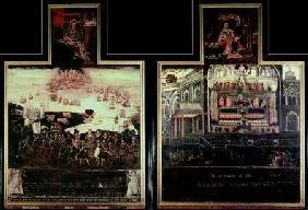 Diptych depicting the Arrival of Queen Elizabeth I (1530-1603) at Tilbury, the Defeat of the Spanish