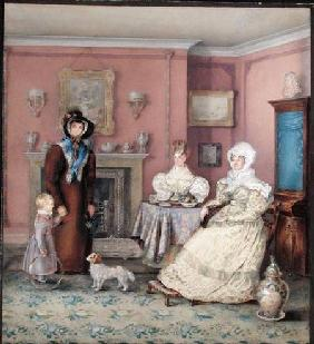 An English William IV Sitting Room in Late Summer c.1830  on