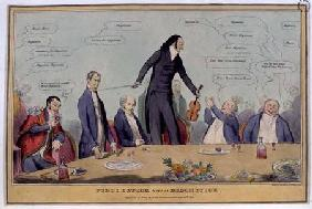 """Fiddlestick versus Broomstick"", caricature of Niccolo Paganini, pub. by Thomas McLean 1831"