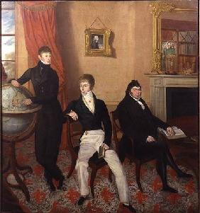 Group Portrait of Three Men in an Elaborate Sitting Room Interior c.1825