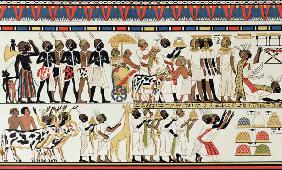 Nubian chiefs bringing presents to the King of Egypt, copy of an Ancient Egyptian wall painting from c.1380 BC