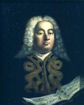 Portrait of George Frederick Handel (1685-1759) with a copy of Messiah c.1749