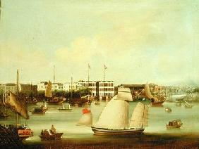 View of the Foreign Factories, Canton before 185