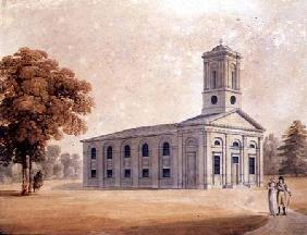 View of a Neo-Classical Church in a Park c.1790  on