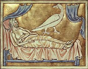Roy 12 C XIX f.47v Caladrius bird, reputed to foretell the fate of a sick man, above a man in bed, f