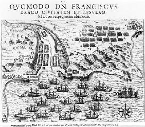Plan Showing how Francis Drake (c.1540-96) Stormed and Held the Island of San Jacob (engraving) (b/w 17th