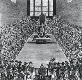 King James I (1566-1625) in the Houses of Parliament, 1624 (engraving) (b/w photo) 1891