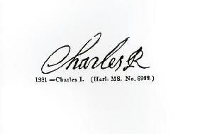 Signature of King Charles I (1600-49) (engraving) (b/w photo) 1862