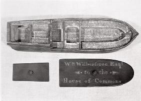 Aerial view of the model of the slave ship 'Brookes' used by William Wilberforce in the House of Com 1768