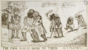 The Poor Blacks Going to their Settlement, pub. by E. Macklew, 1787 (etching) 18th