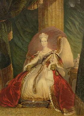 Portrait of Queen Victoria (1819-1901) (colour litho) 19th