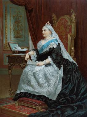 Portrait of Queen Victoria (1819-1901) at the time of her Golden Jubilee in 1887, 1887 (colour litho 19th
