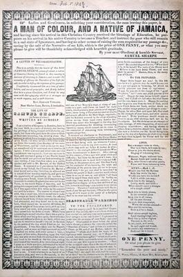 A Man of Colour, and a Native of Jamaica, February 1843 (letterpress broadside with wood engraved vi 17th