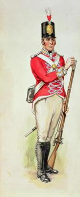 British soldier in Napoleonic times carrying a musket (w/c)
