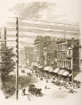 Clark Street, Chicago, in c.1870, from 'American Pictures' published by the Religious Tract Society, 18th