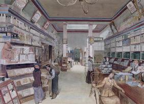 Interior of a London Shop, late 19th century (w/c on paper)