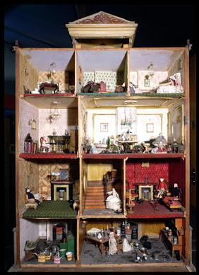 Interior of doll's town house, 1840 (mixed media) 1678