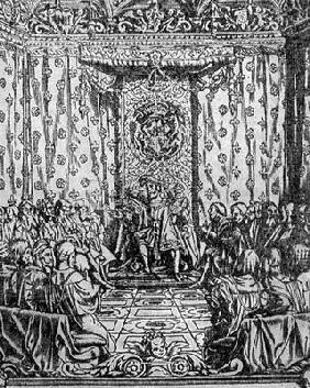 King Henry VIII (1491-1547) in Parliament, from a contemporary print (engraving) 1860