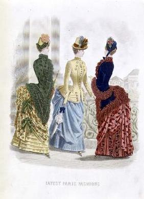 Latest Paris Fashions, three day dresses in a fashion plate from 'The Queen', May 1885 (coloured eng 20th
